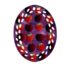 Strawberries And Plums  Ornament (Oval Filigree)