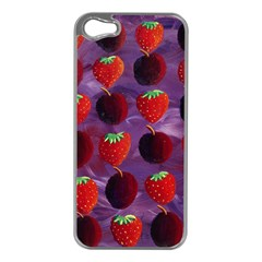 Strawberries And Plums  Apple iPhone 5 Case (Silver)