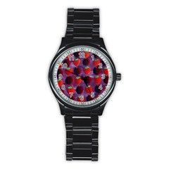 Strawberries And Plums  Stainless Steel Round Watches