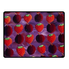 Strawberries And Plums  Double Sided Fleece Blanket (Small)