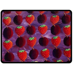 Strawberries And Plums  Double Sided Fleece Blanket (Large)