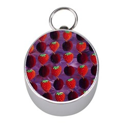 Strawberries And Plums  Mini Silver Compasses
