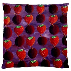 Strawberries And Plums  Large Flano Cushion Cases (Two Sides)