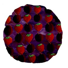 Strawberries And Plums  Large 18  Premium Flano Round Cushions