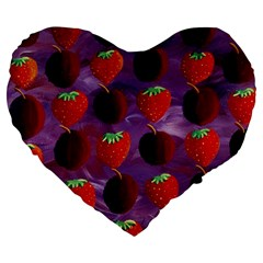 Strawberries And Plums  Large 19  Premium Flano Heart Shape Cushions