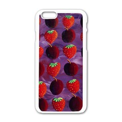 Strawberries And Plums  Apple iPhone 6/6S White Enamel Case