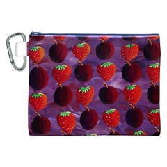 Strawberries And Plums  Canvas Cosmetic Bag (XXL)