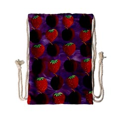 Strawberries And Plums  Drawstring Bag (Small)