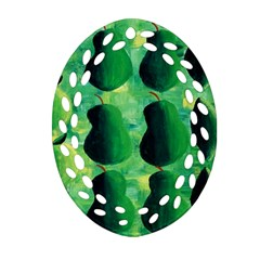 Apples Pears And Limes  Oval Filigree Ornament (2-Side)