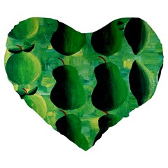 Apples Pears And Limes  Large 19  Premium Heart Shape Cushions