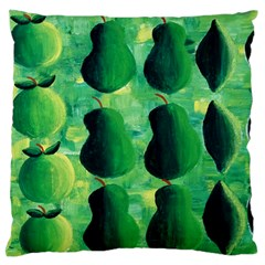 Apples Pears And Limes  Large Flano Cushion Cases (One Side)