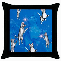 Funny, Cute Playing Cats With Stras Throw Pillow Cases (Black)