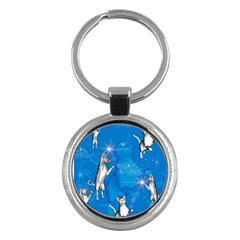 Funny, Cute Playing Cats With Stras Key Chains (Round)