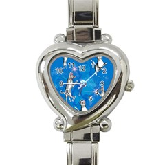Funny, Cute Playing Cats With Stras Heart Italian Charm Watch