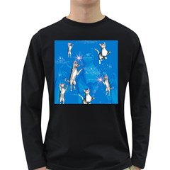 Funny, Cute Playing Cats With Stras Long Sleeve Dark T Shirts