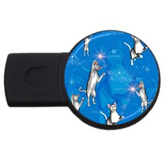 Funny, Cute Playing Cats With Stras USB Flash Drive Round (4 GB)