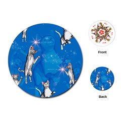 Funny, Cute Playing Cats With Stras Playing Cards (round)