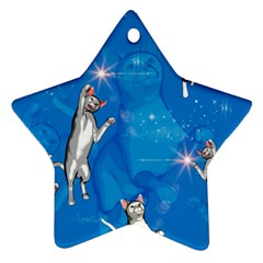 Funny, Cute Playing Cats With Stras Star Ornament (Two Sides)