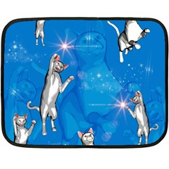 Funny, Cute Playing Cats With Stras Fleece Blanket (Mini)