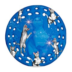Funny, Cute Playing Cats With Stras Ornament (Round Filigree)