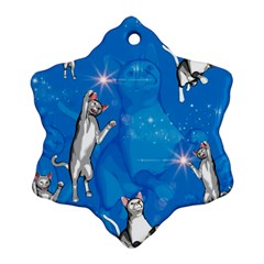 Funny, Cute Playing Cats With Stras Snowflake Ornament (2 Side)