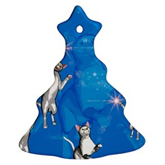 Funny, Cute Playing Cats With Stras Christmas Tree Ornament (2 Sides)