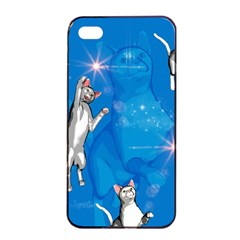 Funny, Cute Playing Cats With Stras Apple Iphone 4/4s Seamless Case (black)