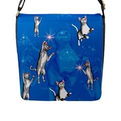 Funny, Cute Playing Cats With Stras Flap Messenger Bag (L)