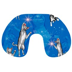 Funny, Cute Playing Cats With Stras Travel Neck Pillows