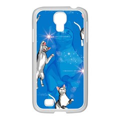Funny, Cute Playing Cats With Stras Samsung GALAXY S4 I9500/ I9505 Case (White)