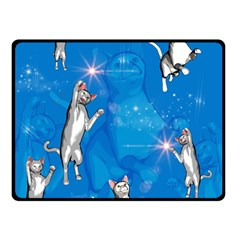 Funny, Cute Playing Cats With Stras Double Sided Fleece Blanket (Small)