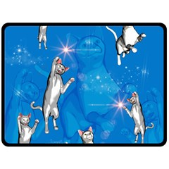 Funny, Cute Playing Cats With Stras Double Sided Fleece Blanket (Large)