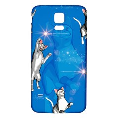 Funny, Cute Playing Cats With Stras Samsung Galaxy S5 Back Case (White)