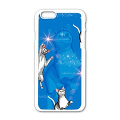 Funny, Cute Playing Cats With Stras Apple iPhone 6/6S White Enamel Case