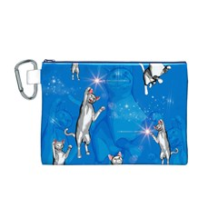 Funny, Cute Playing Cats With Stras Canvas Cosmetic Bag (M)