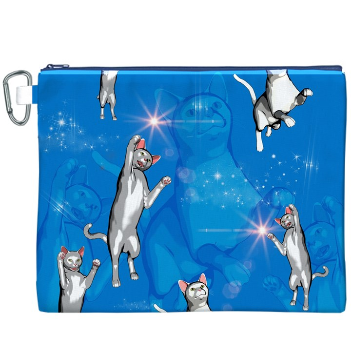 Funny, Cute Playing Cats With Stras Canvas Cosmetic Bag (XXXL)