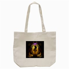 Lion Silhouette With Flame On Golden Shield Tote Bag (Cream)