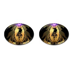 Lion Silhouette With Flame On Golden Shield Cufflinks (Oval)