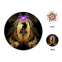 Lion Silhouette With Flame On Golden Shield Playing Cards (Round)