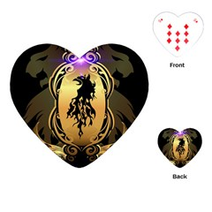 Lion Silhouette With Flame On Golden Shield Playing Cards (heart)