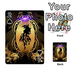 Lion Silhouette With Flame On Golden Shield Playing Cards 54 Designs