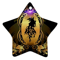 Lion Silhouette With Flame On Golden Shield Star Ornament (Two Sides)