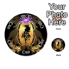 Lion Silhouette With Flame On Golden Shield Playing Cards 54 (Round)