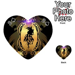 Lion Silhouette With Flame On Golden Shield Playing Cards 54 (Heart)