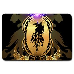 Lion Silhouette With Flame On Golden Shield Large Doormat