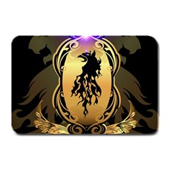Lion Silhouette With Flame On Golden Shield Plate Mats
