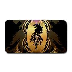 Lion Silhouette With Flame On Golden Shield Medium Bar Mats
