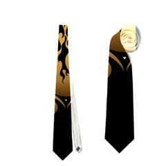 Lion Silhouette With Flame On Golden Shield Neckties (Two Side)