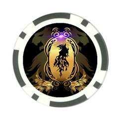 Lion Silhouette With Flame On Golden Shield Poker Chip Card Guards