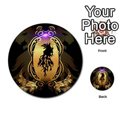 Lion Silhouette With Flame On Golden Shield Multi-purpose Cards (Round)
